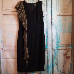 NWT Tahari Arthur S. Levine Metallic Ruffle Dress